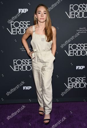 """Holly Taylor attends the premiere screening of FX's """"Fosse/Verdon"""" at the Gerald Schoenfeld Theatre, in New York"""