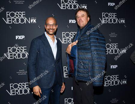 "Keegan-Michael Key, Kevin Nealon. Actors Keegan-Michael Key, left, and Kevin Nealon attend the premiere screening of FX's ""Fosse/Verdon"" at the Gerald Schoenfeld Theatre, in New York"