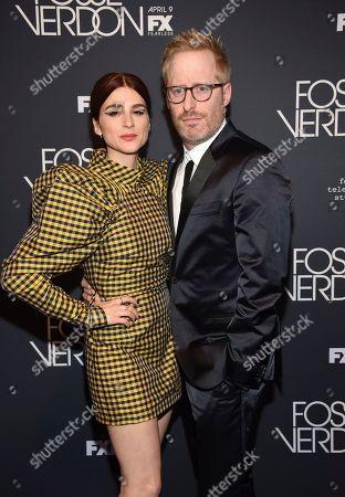 "Aya Cash, Josh Alexander. Actress Aya Cash, left, and husband Josh Alexander attend the premiere screening of FX's ""Fosse/Verdon"" at the Gerald Schoenfeld Theatre, in New York"