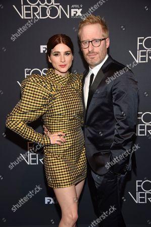 """Stock Image of Aya Cash, Josh Alexander. Actress Aya Cash, left, and husband Josh Alexander attend the premiere screening of FX's """"Fosse/Verdon"""" at the Gerald Schoenfeld Theatre, in New York"""