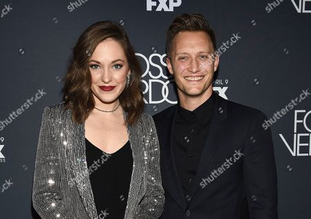 "Laura Osnes, Nathan Johnson. Actress Laura Osnes and husband Nathan Johnson attend the premiere screening of FX's ""Fosse/Verdon"" at the Gerald Schoenfeld Theatre, in New York"