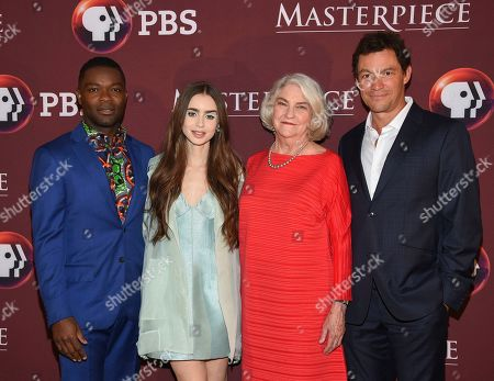 """Stock Picture of David Oyelowo, Lily Collins, Rebecca Eaton, Dominic West. Actors David Oyelowo, left, Lily Collins and Dominic West pose with executive producer Rebecca Eaton at the Masterpiece on PBS """"Les Miserables"""" premiere screening at TheTimesCenter, in New York"""