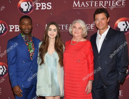 """David Oyelowo, Lily Collins, Rebecca Eaton, Dominic West. Actors David Oyelowo, left, Lily Collins and Dominic West pose with executive producer Rebecca Eaton at the Masterpiece on PBS """"Les Miserables"""" premiere screening at TheTimesCenter, in New York"""