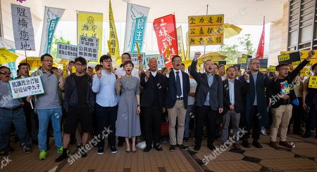 Occupy Central activists (L-R) Eason Chung Yiu-wah (black jacket), Tommy Cheung Sau-yin, Civic Party lawmaker Tanya Chan, Reverend Chu Yiu-ming, Dr. Chan Kin-man, Benny Tai, former Democratic Party lawmaker Lee Wing-tat, Shiu Ka-chun and League of Social Democrats vice-chairman Raphael Wong Ho-ming, prepare to enter court to face a verdict on public nuisance charges at West Kowloon Magistrates Court, in Cheung Sha Wan, Kowloon, Hong Kong, China, 09 April 2019. The Umbrella movement, which occured concurrently with Occupy Central, ran for 79 days in 2014, but failed to bring about genuine universal suffrage in Hong Kong, as was its mission.