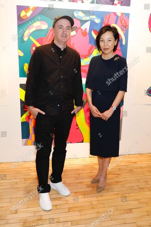 KAWS, artist and honoree of the night and Helen King, Van Cleef CEO/Chair and Helen King, Van Cleef CEO/Chair