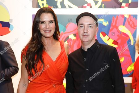 Brooke Shields and KAWS, artist and honoree of the night