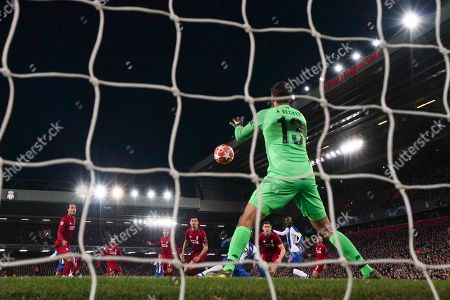 Liverpool's Alison Becker makes a save 9th April 2019 , Anfield Stadium, Liverpool, England;  EUFA Champions League Quarter Final, First Leg, Liverpool FC vs FC Porto  Credit: Terry Donnelly/News Images