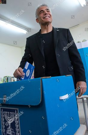 Yair Lapid, the number two on the centrist Blue and White Israeli party, casts his vote in the Israeli general elections, in a school in the Ramat Aviv area of Tel Aviv, Israel, 09 April 2019. Polls opened nation-wide as Israel's 2019 Knesset election is underway, with some 6.3 million eligible voters.