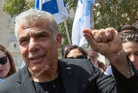 Yair Lapid, the number two on the centrist Blue and White Israeli party, makes a statement to the press after casting his vote in a school during the Israeli general elections in the Ramat Aviv area of Tel Aviv, Israel, 09 April 2019.
