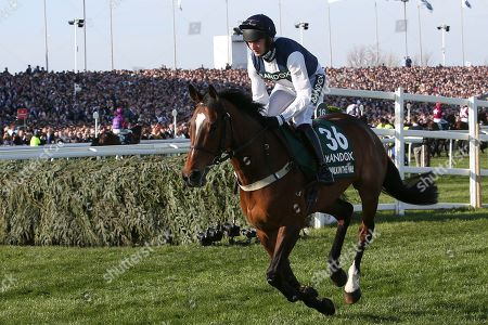 Fourth placed Walk In The Mill and jockey James Best heading to the strart 5:15pm The Randox Health Grand National Steeple Chase (Grade 3) 4m 2f during the Grand National Meeting at Aintree, Liverpool