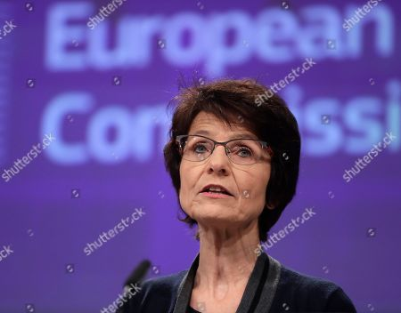 European Commissioner for Employment, Social Affairs, Skills and Labour Mobility Marianne Thyssen speaks during a press conference on Brexit preparedness in the area of social Europe at the European Commission in Brussels, Belgium, 09 April  2019.