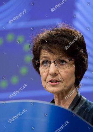 European Commissioner for Employment and Social Affairs Marianne Thyssen speaks during a media conference at EU headquarters in Brussels, . EU Commissioner Thyssen on Tuesday briefed the press on Brexit preparedness in the area of employment and social affairs