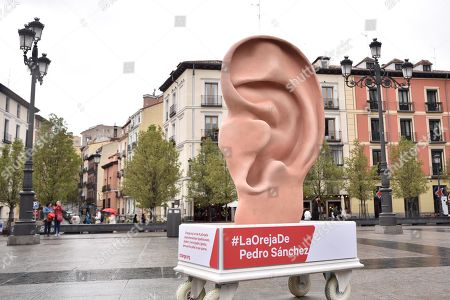A general view of a giant ear shaped sculpture created by Change.org crowdfunding platform in Madrid, Spain, 09 April 2019. This sculpture, over two-meters high, allows anyone to record demands or requests to the main candidates for general elections, thanks to a recording device installed inside it. Later those messages will be subsequently sent to the politicians.