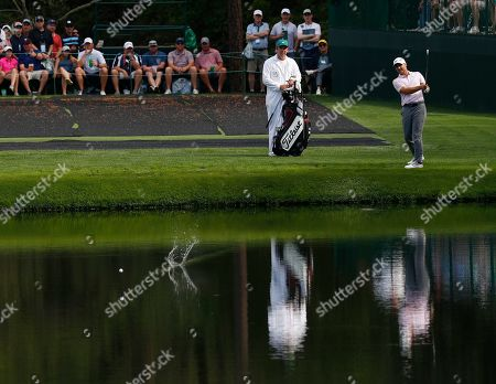 Trevor Immelman of South Africa skips his ball across the pond on the sixteenth hole during the second practice round for the 2019 Masters Tournament at the Augusta National Golf Club in Augusta, Georgia, USA, 09 April 2019. The 2019 Masters Tournament is held 11 April through 14 April 2019.