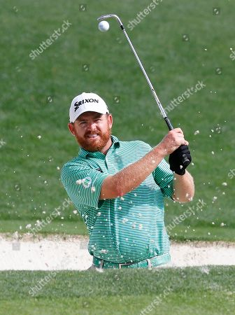 J. B. Holmes of the US hits out of a bunker on the sixteenth hole during the second practice round for the 2019 Masters Tournament at the Augusta National Golf Club in Augusta, Georgia, USA, 09 April 2019. The 2019 Masters Tournament is held 11 April through 14 April 2019.