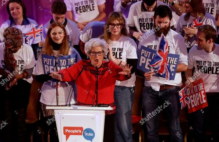 """Betty Boothroyd, aged 89, the former Speaker of the House of Commons in Britain's Parliament, shouts 'order' as she arrives on stage to address a People's Vote rally calling for a second referendum on Britain's European Union membership entitled """"The wind is changing on Brexit"""" in London"""