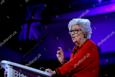 """Betty Boothroyd, aged 89, the former Speaker of the House of Commons in Britain's Parliament, addresses a People's Vote rally calling for a second referendum on Britain's European Union membership entitled """"The wind is changing on Brexit"""" in London"""