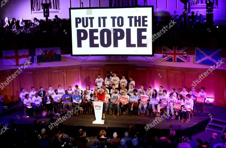 """Betty Boothroyd, aged 89, the former Speaker of the House of Commons in Britain's Parliament, arrives on stage to address a People's Vote rally calling for a second referendum on Britain's European Union membership entitled """"The wind is changing on Brexit"""" in London"""