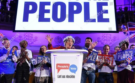 Stock Photo of Former Speaker of the House Betty Boothroyd speaks at a People's Vote rally in central London, Britain, 09 April 2019. British Prime Minister Theresa May is in Paris and Berlin seeking an extension to article 50.