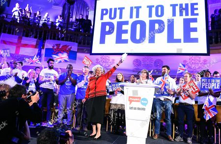 Stock Picture of Former Speaker of the House Betty Boothroyd (C) speaks at a People's Vote rally in central London, Britain, 09 April 2019. British Prime Minister Theresa May is in Paris and Berlin seeking an extension to article 50.