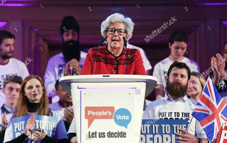 Stock Image of Former Speaker of the House Betty Boothroyd speaks at a People's Vote rally in central London, Britain, 09 April 2019. British Prime Minister Theresa May is in Paris and Berlin seeking an extension to article 50.