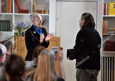 Lars Von Trier receives the Rungstedlund Prize 2019 from Queen Margrethe at an event at the Karen Blixen Museum in Rungsted, Denmark, 09 April 2019.