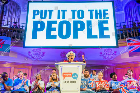 Stock Picture of Dame Betty Boothroyd, former speaker of the house, speaks - A People's Vote rally is held in the Abbey Yard next to Westminster Abbey.