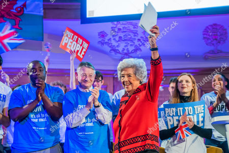 Dame Betty Boothroyd, former speaker of the house - A People's Vote rally is held in the Abbey Yard next to Westminster Abbey.
