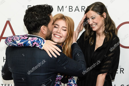 German actor Elyas Mâ??Barek (L) kisses German-Russian TV host and actress Palina Rojinski (C) next to German actress Alexandra Maria Lara during the world premiere of the movie 'The Collini Case' (Der Fall Collini) at the Zoo Palast cinema in Berlin, Germany, 09 April 2019. The movie screens from 18 April 2019 in German cinemas.
