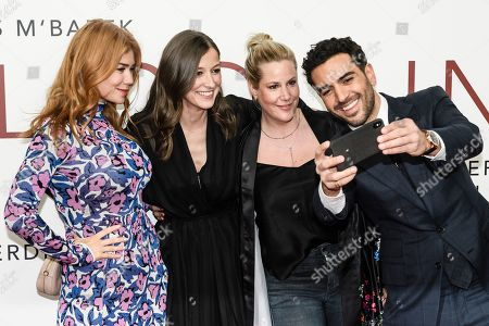 German-Russian TV host and actress Palina Rojinski, German actress Alexandra Maria Lara, German screenwriter and director Anika Decker and German actor Elyas Mâ??Barek take selfie while they pose during the world premiere of the movie 'The Collini Case' (Der Fall Collini) at the Zoo Palast cinema in Berlin, Germany, 09 April 2019. The movie screens from 18 April 2019 in German cinemas.