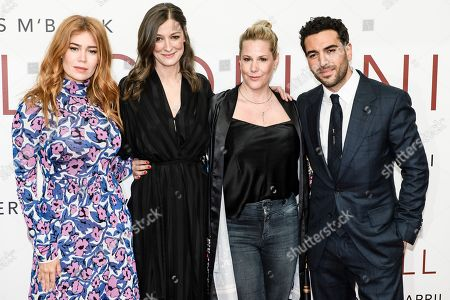 German-Russian TV host and actress Palina Rojinski, German actress Alexandra Maria Lara, German screenwriter and director Anika Decker and German actor Elyas Mâ??Barek pose during the world premiere of the movie 'The Collini Case' (Der Fall Collini) at the Zoo Palast cinema in Berlin, Germany, 09 April 2019. The movie screens from 18 April 2019 in German cinemas.