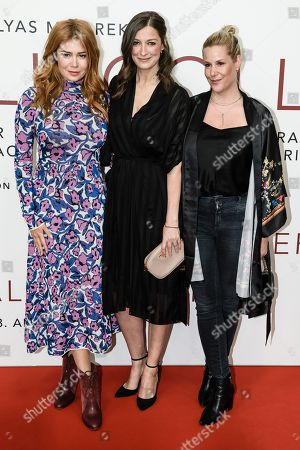 German-Russian TV host and actress Palina Rojinski, German actress Alexandra Maria Lara and German screenwriter and director Anika Decker pose during the world premiere of the movie 'The Collini Case' (Der Fall Collini) at the Zoo Palast cinema in Berlin, Germany, 09 April 2019. The movie screens from 18 April 2019 in German cinemas.