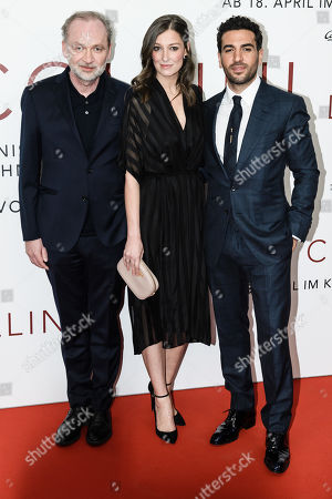 German lawyer and author Ferdinand von Schirach, German actress Alexandra Maria Lara and German actor Elyas Mâ??Barek pose during the world premiere of the movie 'The Collini Case' (Der Fall Collini) at the Zoo Palast cinema in Berlin, Germany, 09 April 2019. The movie screens from 18 April 2019 in German cinemas.
