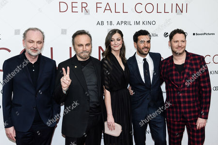 German lawyer and author Ferdinand von Schirach, Italian actor Franco Nero, German actress Alexandra Maria Lara, German actor Elyas Mâ??Barek and German director Marco Kreuzpaintner pose during the world premiere of the movie 'The Collini Case' (Der Fall Collini) at the Zoo Palast cinema in Berlin, Germany, 09 April 2019. The movie screens from 18 April 2019 in German cinemas.
