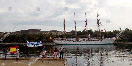 People welcome the Spanish Navy's training ship Juan Sebastian de Elcano, in Havana, Cuba, 09 April 2019, where it will remain until the 14 April.