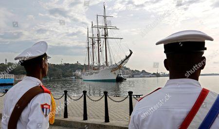 The Spanish Navy's training ship Juan Sebastian de Elcano arrives, in Havana, Cuba, 09 April 2019, where it will remain until the 14 April.
