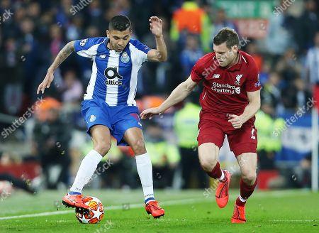 Jesus Manuel Corona of Porto and James Milner of Liverpool