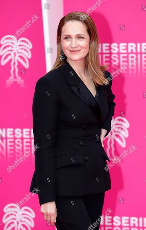 Cast member of 'The Outbreak', Russian actress Viktoriya Isakova poses on the pink carpet during the Cannes Series Festival in Cannes, 09 April 2019.The event takes place from 05 to 10 April.