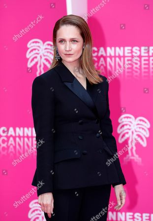 Stock Image of Cast member of 'The Outbreak', Russian actress Viktoriya Isakova poses on the pink carpet during the Cannes Series Festival in Cannes, 09 April 2019.The event takes place from 05 to 10 April.