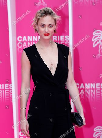 Nora Arnezeder poses on the pink carpet during the Cannes Series Festival in Cannes, 09 April 2019. The event runs from 05 to 10 April.
