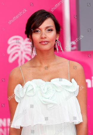 Jessica Lucas poses on the pink carpet during the Cannes Series Festival in Cannes, 09 April 2019. The event takes place from 05 to 10 April.