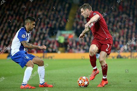 Liverpool midfielder James Milner (7) takes on FC Porto forward Jesus Manuel Corona (17) during the Champions League Quarter-Final Leg 1 of 2 match between Liverpool and FC Porto at Anfield, Liverpool