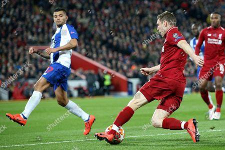 Liverpool midfielder James Milner (7) turns FC Porto forward Jesus Manuel Corona (17) during the Champions League Quarter-Final Leg 1 of 2 match between Liverpool and FC Porto at Anfield, Liverpool