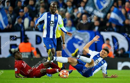 Liverpool's Sadio Mane (L) in action against FC Porto's Jesus Manuel Corona (R) during the UEFA Champions League quarter final, first leg soccer match between Liverpool FC and FC Porto at Anfield in Liverpool, Britain, 09 April 2019.