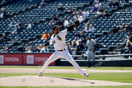 Chicago White Sox starting pitcher Ervin Santana throws against the Tampa Bay Rays during the first inning of a baseball game in Chicago
