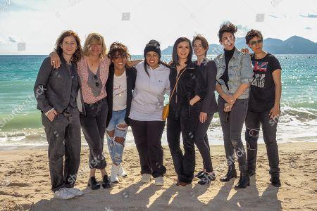 Cast - Katia Lewkowicz, Mika Tard, Amel Bent, Sylvie Hoarau, guest, Marie Amachoukeli-Barsacq - 'Kings' TV show photocall