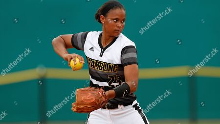Tyler Robinson (23) throws the ball during an Grambling State University at Texas Southern University NCAA softball game on in Houston