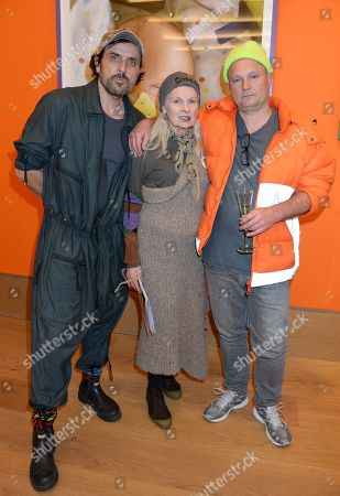 Andreas Kronthaler, Dame Vivienne Westwood and Juergen Teller attend the private view at Bonhams.