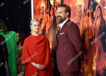 "Alison Sudol, David Harbour. Actor David Harbour, left, and girlfriend Alison Sudol attend a special screening of ""Hellboy"" at AMC Lincoln Square, in New York"
