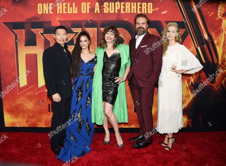 """Daniel Dae Kim, Sasha Lane, Milla Jovovich, David Harbour, Penelope Mitchell. Xxx attends a special screening of """"Hellboy"""" at AMC Lincoln Square, in New York"""